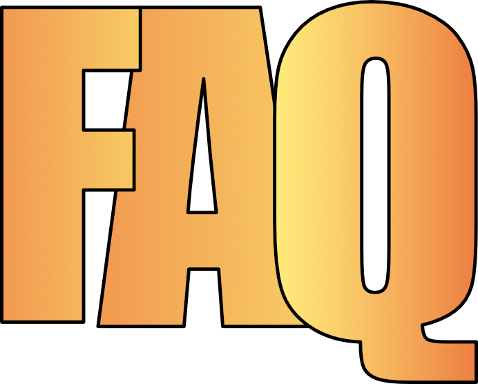 Small graphic icon in the shape of the letters F A Q in yellow