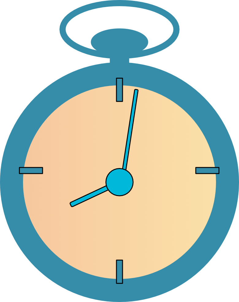 Web icon graphic as the outline a stop watch in yellow and steel blue