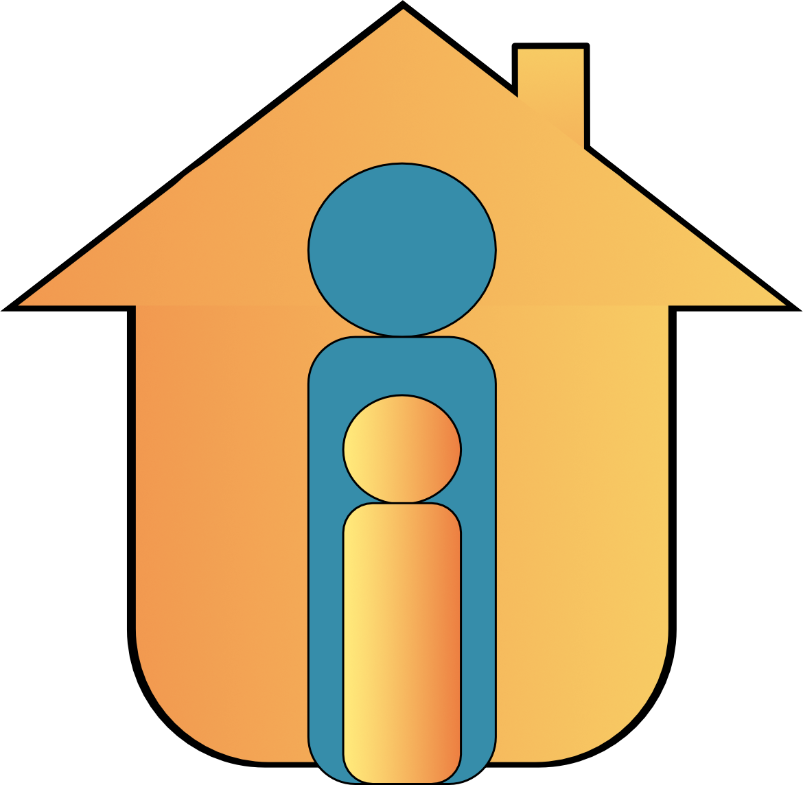 Web icon graphic as the outline of 1 adult and a child in front of a house yellow and steel blue