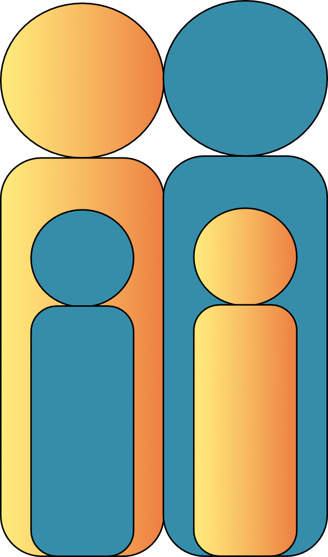 Web icon graphic as the outline of 2 adults and 2 children in yellow and steel blue